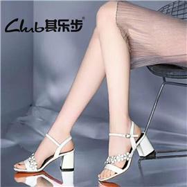 夏季新款韩版鱼嘴百搭时尚粗跟中跟女鞋镂空带亮片一字扣带女凉鞋