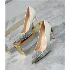 尖头单鞋8公分女鞋双色料