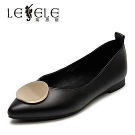莱思丽女鞋秋新款圆头浅口平底单鞋女软皮温柔仙女鞋奶奶鞋LC5617