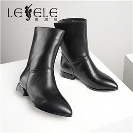 LESELE 莱思丽冬新款时尚秋冬牛皮橡胶大底短靴LD7544