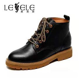 莱思丽短靴冬新款圆头粗高跟马丁靴女英伦风铆钉百搭女短靴LD6779