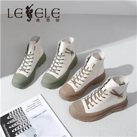 LESELE 莱思丽冬新款时尚百搭牛皮橡胶底高帮鞋LD7877
