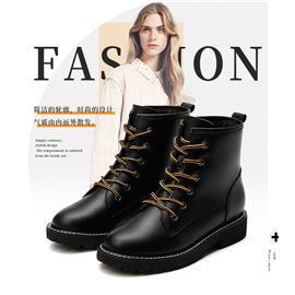 莱思丽冬新款牛皮加绒英伦风马丁靴女短靴中粗跟网红瘦瘦靴LD6203