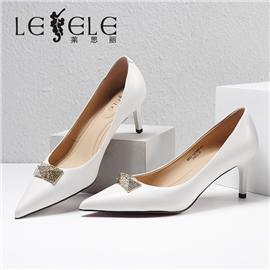 LESELE|莱思丽2021春季新款优雅时尚百搭胎牛皮橡胶底高跟鞋LA7066