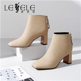 LESELE 莱思丽冬新款猪皮丝绸羊皮橡胶底绒面短靴LD7589