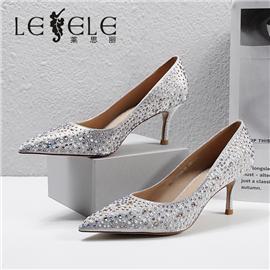 LESELE|莱思丽2021春季新款优雅时尚百搭进口超纤高跟鞋LA7148