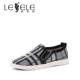 LESELE莱思丽春季格子布深口女鞋 圆头厚底休闲鞋低跟单鞋女