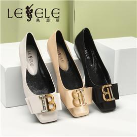 LESELE|莱思丽真皮平底鞋春款浅口方扣百搭复古牛皮软底单鞋女|MA9062