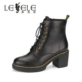 莱思丽LESELE新款加绒保暖真皮短靴防水台粗跟马丁靴女鞋靴LD4868