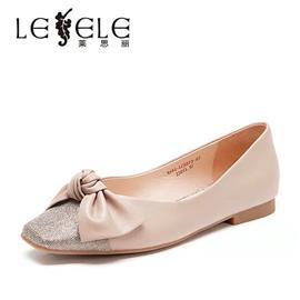 莱思丽春秋新款浅口奶奶鞋蝴蝶结水钻一脚蹬懒人平底单鞋女LC5573