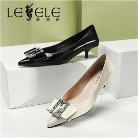 LESELE 莱思丽女鞋春新款真皮蝴蝶结方扣尖头中跟单鞋女细跟小跟鞋 MA9044
