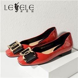 LESELE|莱思丽2021春季新款复古英伦风牛皮橡胶底女士时装鞋LA6174