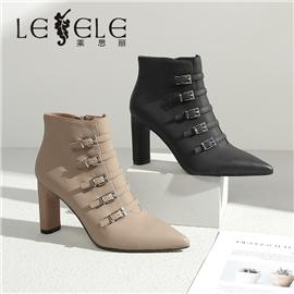 LESELE 莱思丽冬新款丝绸羊皮橡胶底绒面短靴LD7688
