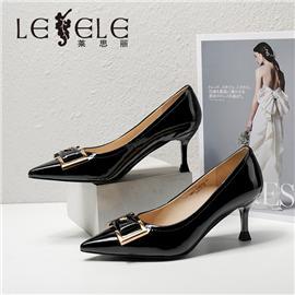 LESELE|莱思丽2021春季新款优雅复古漆皮橡胶高跟鞋LA6568