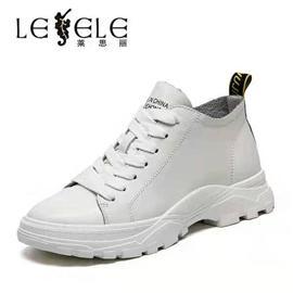 LESELE|萊思麗女鞋冬新款真皮高幫休閑鞋厚底百搭透氣坡跟小白鞋潮LD6405