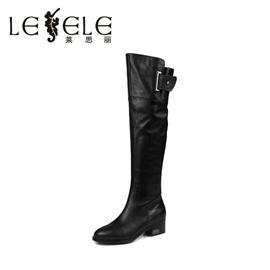 莱思丽LESELE冬季新款欧美真牛皮女靴圆头方粗跟高筒女长靴LD9513