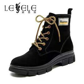 莱思丽马丁靴女冬新款休闲鞋单靴百搭厚底英伦风牛皮女短靴LD6433