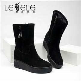 LESELE 莱思丽冬新款时尚磨砂牛皮低跟休闲短靴LD7891