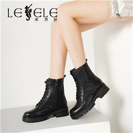 LESELE 莱思丽冬新款时尚秋冬牛皮耐磨大底冬款女靴LD7521