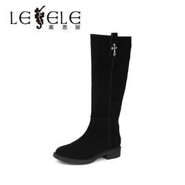 LESELE/莱思丽冬季新款牛猄女鞋子 圆头粗跟保暖加绒长靴女LD4096