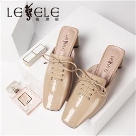 LESELE|莱思丽粗高跟夏新款真皮外穿凉拖鞋包头半拖欧美百搭女凉鞋|ME9197