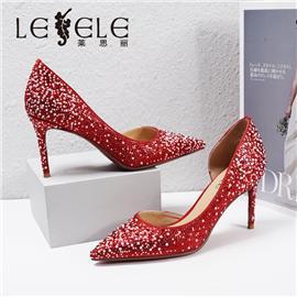 LESELE|莱思丽2021春季新款优雅复古真丝布时尚高跟鞋LA6177