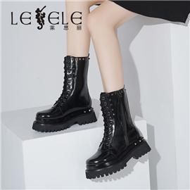 LESELE 莱思丽冬新款时尚修长全新牛皮耐磨橡胶底女士长靴LD6794