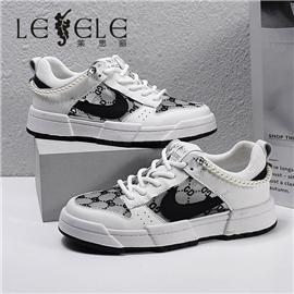 LESELE|莱思丽2021秋季时尚简约牛皮小白鞋LA8249