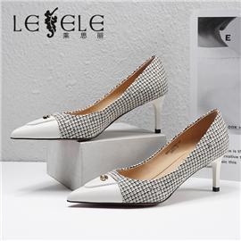 LESELE|莱思丽2021春季新款优雅时尚百搭牛皮橡胶底高跟鞋LA7067