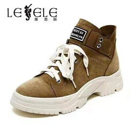 LESELE|莱思丽短靴女春秋单靴冬新款皮里靴厚底百搭休闲网红马丁靴LD6425