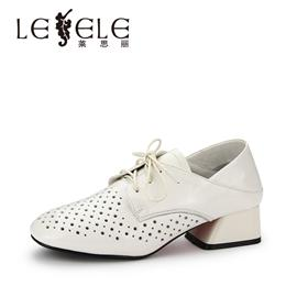LESELE/莱思丽春季新款深口女鞋子 方头绑带粗高跟漆皮单鞋女