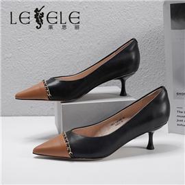 LESELE|莱思丽2021春季新款优雅时尚百搭复古英伦风羊皮时装鞋LA7286