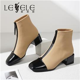 LESELE 莱思丽冬新款时尚秋冬修长羊皮耐磨大底女款冬靴LD7532