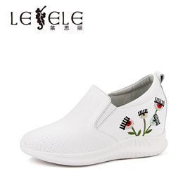 LESELE莱思丽春季新款绣花休闲鞋 牛皮圆头舒适内增高跟女鞋