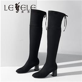 LESELE 莱思丽冬新款小圆头亲肤防滑橡胶底长筒女靴LD7581