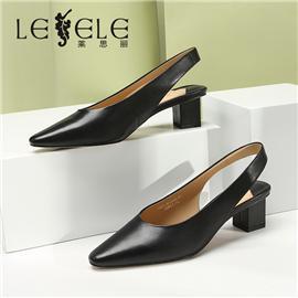 LESELE|莱思丽新款真皮女单鞋时尚高跟一字带简约尖头女单鞋|ME9226