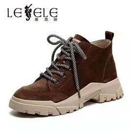 莱思丽女短靴秋冬季新款马丁靴女短靴坡跟中跟靴休闲女单靴LD6222