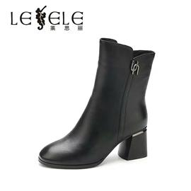 LESELE/莱思丽新款简约金属扣方跟牛皮中筒靴 圆头加绒女靴LD4949