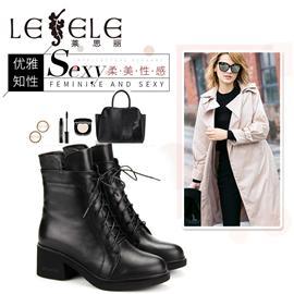 LESELE莱思丽冬新款简约系带牛皮女短靴 方跟高跟加绒马丁靴