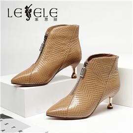 LESELE 莱思丽冬新款时尚蛇纹牛皮绒内里耐磨底女靴LD7564