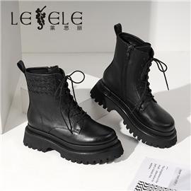 LESELE 莱思丽冬新款头层牛皮耐磨橡胶底猪皮女靴LD6756