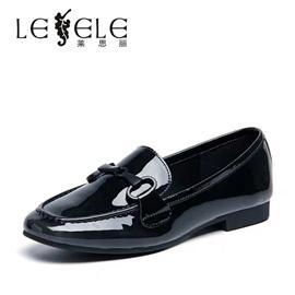 莱思丽女鞋英伦风漆皮鞋女韩版百搭女鞋秋新款潮鞋平底单鞋LC5565