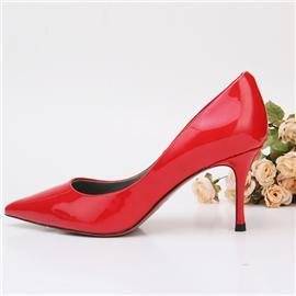 2018新款上市时尚简约红色胎牛漆皮高跟鞋