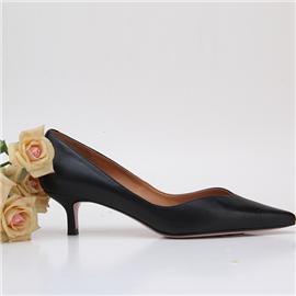 2018新款上市时尚简约黑色混种羊皮高跟鞋