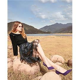 艾莉歌 网布拼接闪料钻石扣 高跟单鞋