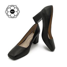 渥琇秋季羊皮粗方跟高跟鞋 单鞋 时尚潮流