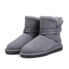 女童防水防污烫钻雪地靴平底中筒靴