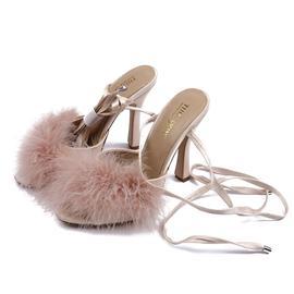 尖头细高跟时尚绸带宴会女式凉鞋