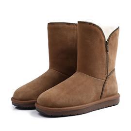 女款防水防污拉链款雪地靴平底中筒靴
