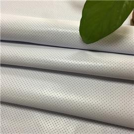 白色耐黄变荔枝纹冲孔仿真皮超纤革|环保透气|超纤皮革|绒面超纤